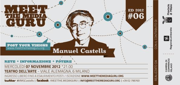 Invito per incontro con Manuel Castells nell'ambito di Meet the Media Guru